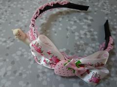 ハンドメイド★ピンク白レースイチゴ柄リボンカチューシャ