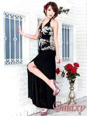 5879★ジルコニアサークルバックル付*和風花柄ペプラムロングドレス*ブラック