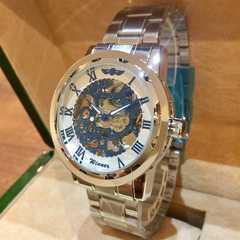 WINNER★スケルトン 自動巻きメンズ腕時計♪ブルー×ホワイト×ブルー