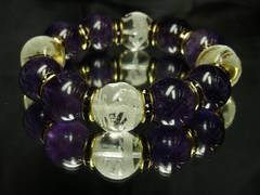 オラオラ系!!!風水四神獣水晶×アメジスト数珠ブレスレット!!特大18mm