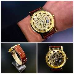 腕時計 ギリシャ文字  機械型 金フレームレザー 革ベルト 茶色