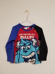 赤に青と黒の袖のサニーの長袖Tシャツ110