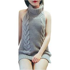 激安商品♪背中あきセーター ニット バックレス ワンピース M