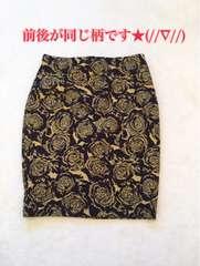 ■ひざ上■黒ゴールドお花■タイトスカート■ウエストゴム■M