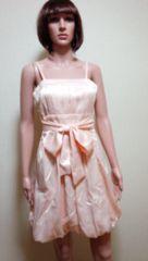 新同…光沢プリーツ&紐リボンのバルーンドレス D3☆3点で即落