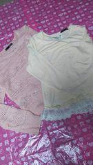100円スタート  中古品  ピンク 長袖トップス 2枚セット 160cm