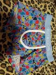 メンズ お洒落なボクサーパンツ。青色、ポップな柄物。Mサイズ。