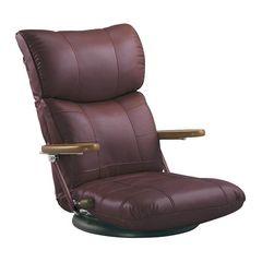 木肘スーパーソフトレザー座椅子 ワインレッド YS-C1364_WIN