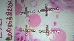 A級ガラスストーンクロスチャーム十字架★選べる4カラー1色5個