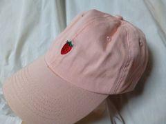 キャップMILIピンク女子フリーいちご刺繍コットン帽子