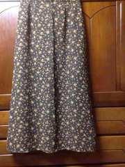 小花柄 シフォン ロングフレアスカート