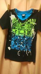 新品◆チェーンリングアクセ付ドクロ柄リブ風Tシャツ160