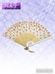 【和の志】女性用絹扇子◇白系・小花柄◇JS16-2