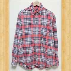 NEW ENGLAND ニューイングランド チェックネルシャツ M ピンク イタリア製