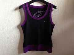 トミーガールTommy girlタンクトップ黒色紫色パープル