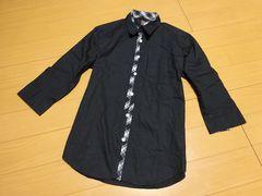 【新品】agate label ブラック7分丈シャツ:Mサイズ