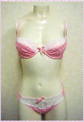 ★水玉柄♪ブラ&ショーツセット C70 (ピンク)