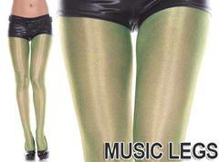 A409)MusicLegsシャイニーメタリックストッキングネオングリーンタイツダンスステージ衣装パンスト