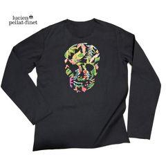 ルシアンペラフィネlucien pellat-finetメンズ花柄スカル長袖Tシャツ黒M