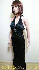 キャバ☆胸元アクセB'z盛り�Aとろみ素材のドレス D61☆3点で即落