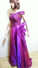美品☆ROSE NADAM☆華麗な光沢紫のパーティドレスD39☆3点で即落