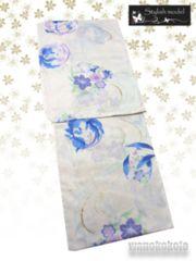 【和の志】女性用浴衣◇Lサイズ◇生成系・花丸に金魚687-17