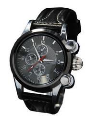 【送料無料】ユニセックス3Dレザー(本革)clubface腕時計BK