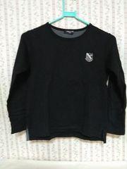 COMME CA ISM 男の子130�pロングTシャツ 黒(胸にイニシャル)