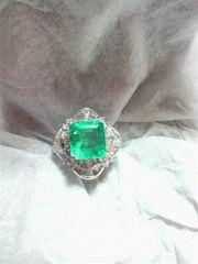 【送料無料】Pt900 天然 エメラルド 2ct ダイヤ 0.7ct 高級リング プラチナ