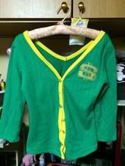 スエット素材緑に襟から黄色のふちどり七分丈カーディガン