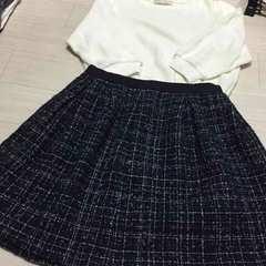 トランテアン 7部袖ニット 組曲 ツイードスカート セット