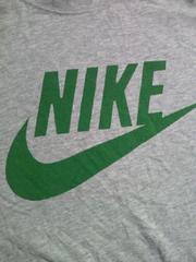 NIKE ナイキ 胸 ブランド ロゴ 大 長袖 Tシャツ グレー グリーン Sサイズ