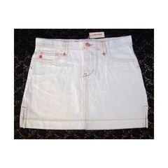 新品 ステッチ デザイン 白 デニム ミニスカート L
