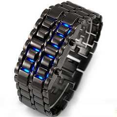 ブレスレットのようなLEDメタル腕時計シルバー