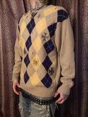 即決トライブワークスクラッシュアーガイルセーター!ロカビリーパンクロックモッズスキンズスタイル