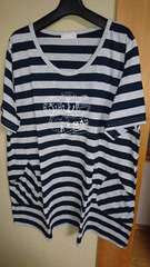 4L ボーダーTシャツ☆ネイビー×グレー