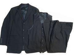 2037■美品メンズティノラス 3Pスーツ上下セット 黒です。