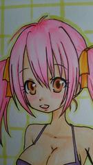 自作イラスト オリジナル 女の子 水着 ピンク髪