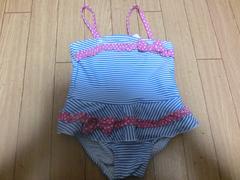 【新品タグ付】カワイイ♪水着90�pブルー☆ストライプ柄