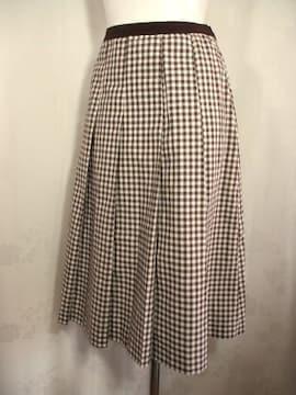 【OLIVE de OLIVE】【未使用品】白/ブラウンチェックのロングスカート