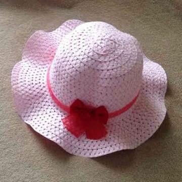 キッズ 子供用 レース 赤いリボン ハット 帽子