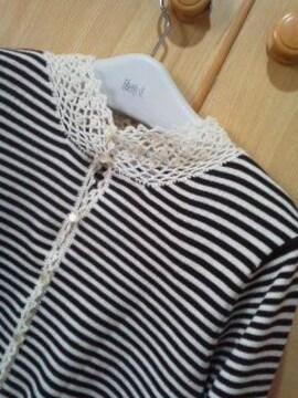 プードゥドゥ鍵張り編み衿のカーディガン/送料370