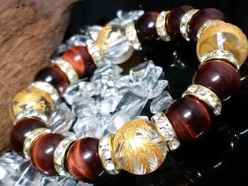 金四神獣水晶レッドタイガーアイ金ロンデル数珠