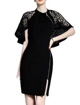 レースケープ サイドジッパー付きドレス(XL寸・黒)