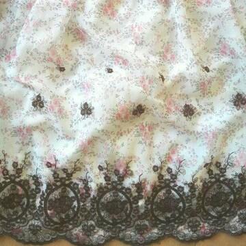 レストローズ白花柄ワンピースリボン刺繍ホワイトピンク小悪魔