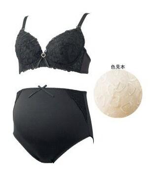 ハート刺繍マタニティブラ&ショーツセットホワイトD75/L