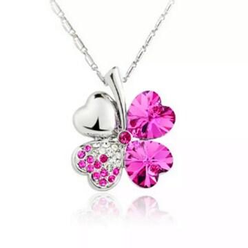 ◆ピンクサファイア クローバー ネックレス 新品