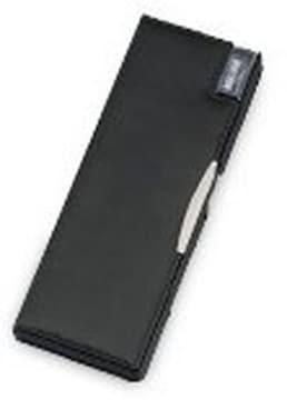 合成皮革製 鉛筆削り付両開筆入 ペンケース 筆箱 (ブラック)