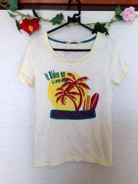 ピンクアドベ◆ハワイアン ヤシの木 イエロー Tシャツ M