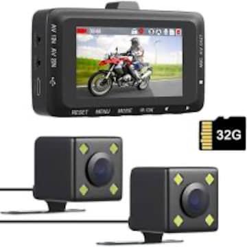 バイク用 ドライブレコーダー 前後カメラ 32GBカード付き 3イン